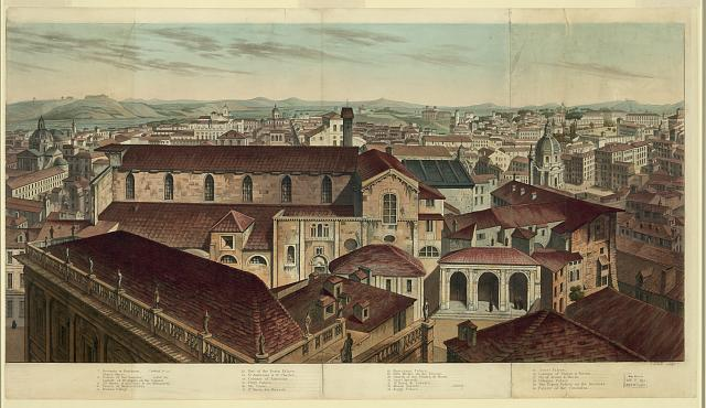 [View of Rome, including the Forum, the Temple of Jupiter Slator, the Tomb of Cecilia Metella, and the Church of St. Anastasea.]