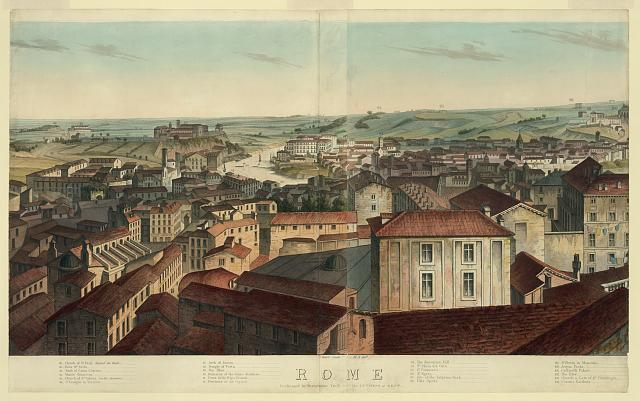 [View of Rome, including the Villa Meolistrees, Sa. Maria dei Monti, Temple of Minerva Medica, the Coliseum, etc.]