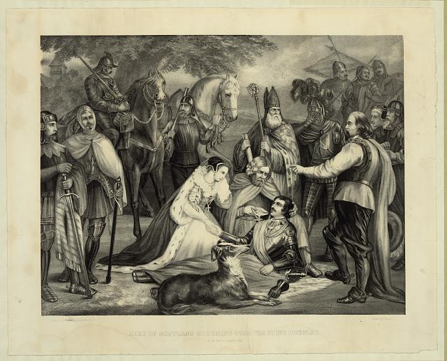 Mary of Scotland mourning over the dying Douglas at the Battle of Langside, 1568
