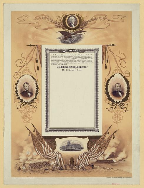 [Civil War veterans' certificate]