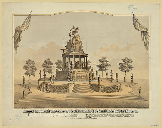 Design of bronze monument, commemorative of American independence