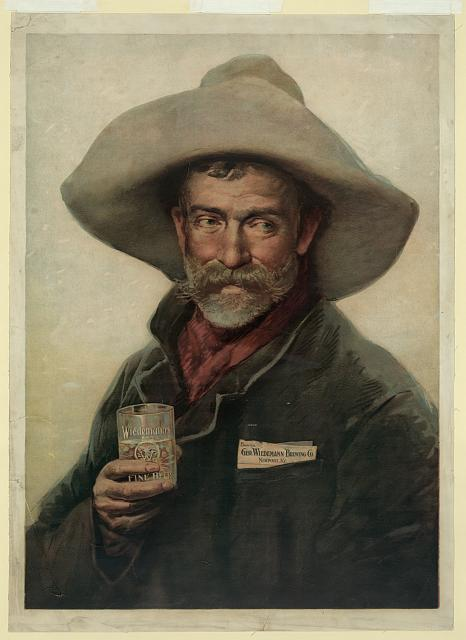 Tradecard for Wiedemann Beer: old cowboy holding glass of Wiedemann's