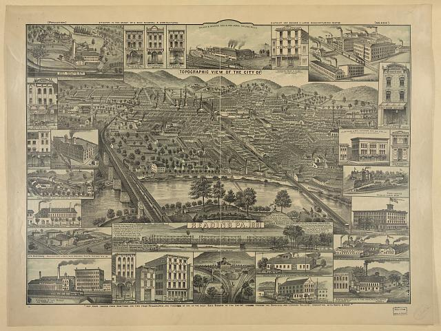 Topographic view of the city of Reading Pa. 1881