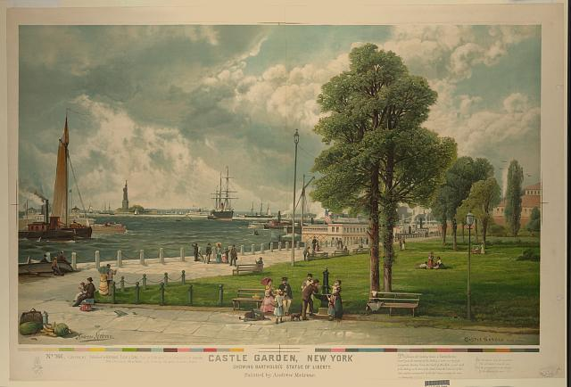 Castle Garden, New York, showing Bartholdi's Statue of Liberty