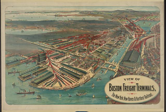 View of Boston freight terminals, The New York, New Haven & Hartford railraod