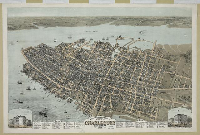 Bird's eye view of the city of Charleston South Carolina 1872
