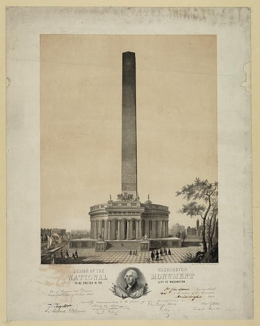 Design of the Wasihngton [i.e. Washington] national monument to be erected in the city of Washington