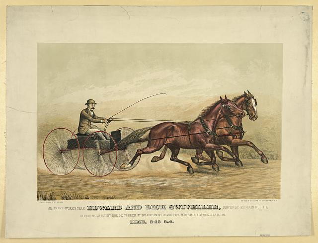 Mr. Frank Work's team Edward and Dick Swiveller, driven by Mr. John Murphy, in their match against time, 2:20 to wagon, at the gentlemen's driving park, Morissania, New York, July 13, 1882, time, 2:16 3-4