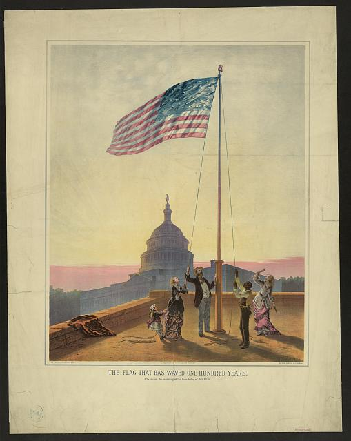The flag that has waved one hundred years--A scene on the morning of the fourth day of July 1876