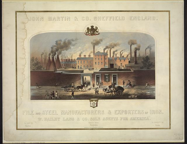 John Martin & Co., Sheffield, England. File and steel manufacturers & exporters of iron. W. Bailey Lang & Co. sole agents for America