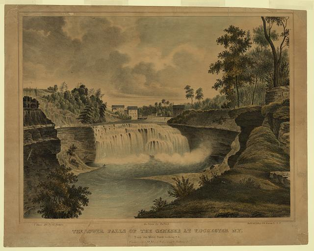 Lower falls of the Genesee at Rochester, N.Y. from the west bank looking S E