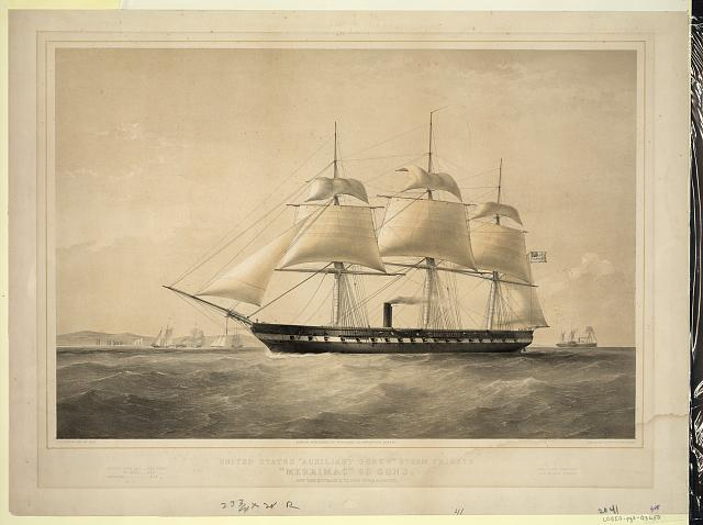"United States ""Auxiliary Screw"" steam frigate ""Merrimac"" 60 guns. Off the entrance to New York harbour"