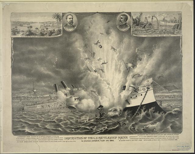 Destruction of the U.S. battleship Maine in Havana Harbor Feby 15th, 1898