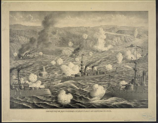 Destruction of Adml. Cervera's Spanish fleet off Santiago de Cube