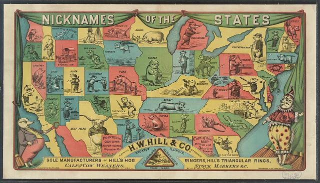 Nicknames of the states. H.W. Hill & Co. Decatur Illinois sole manufacturer of Hill's hog ringers