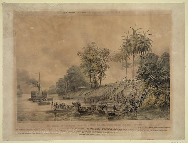 The landing, of the naval expedition, against Tabasco [Mexico]. Com...ore M.C. Perry in command