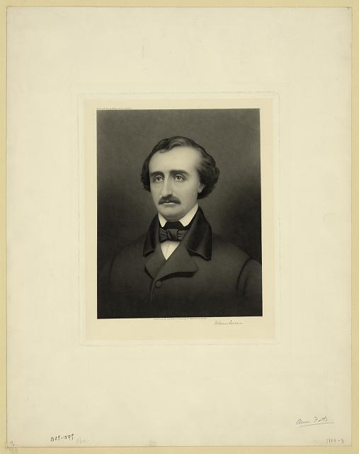 [Edgar Allan Poe, head-and-shoulders portrait, facing front]