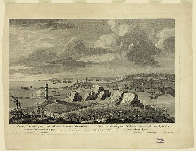 A view of Louisburg in North America, taken near the light house when that city was besieged in 1758