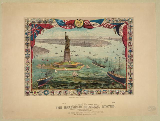 The gift of France to the American people, the Bartholdi colossal statue, Liberty enlightening the world