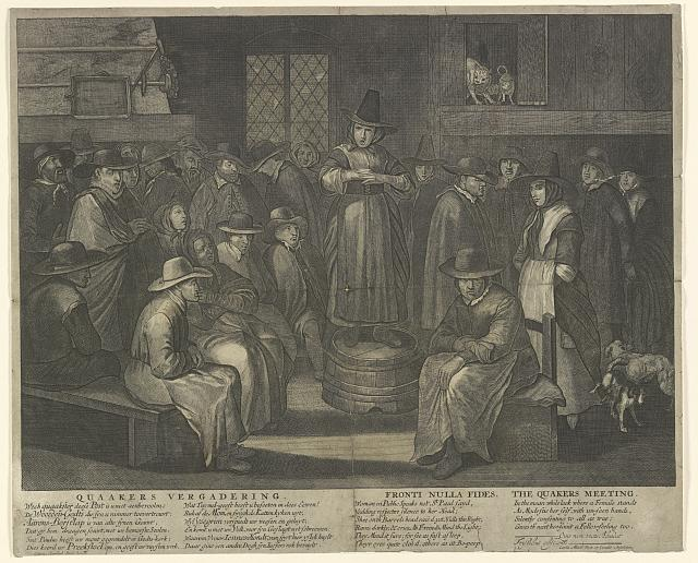 Quaakers vergadering. Fronti nolla fides. The Quakers meeting