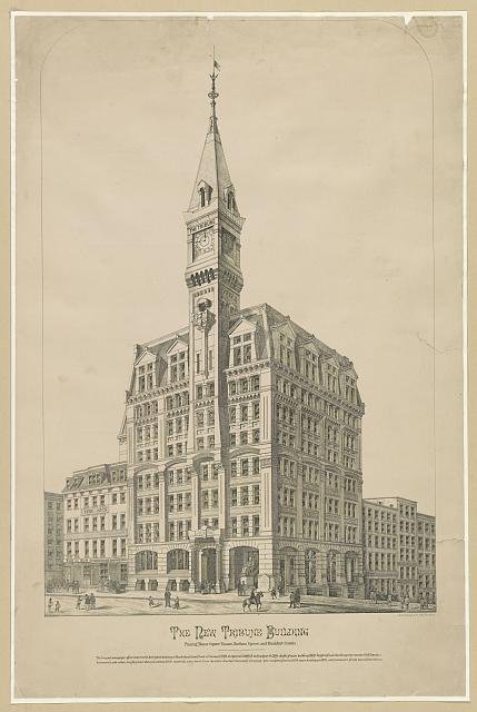 The new Tribune Building, Printing House Square, Nassau, Chatham, Spruce, and Frankfort Streets