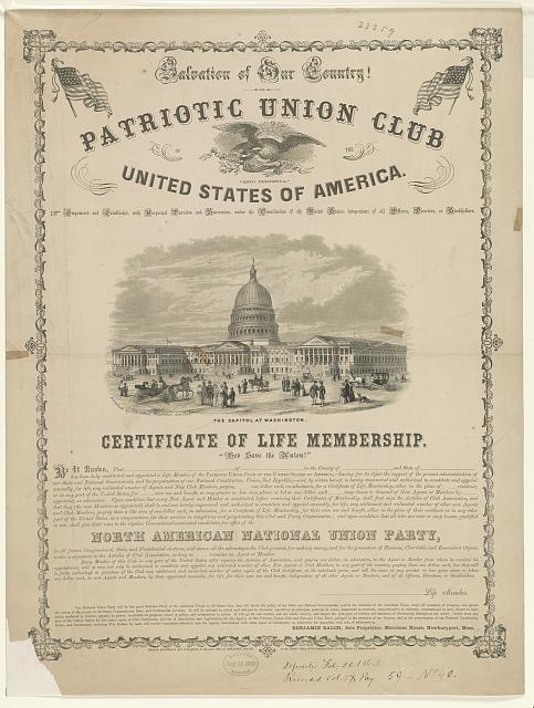 Salvation of our country! Patriotic Union Club of the United States of America. Certificate of membership