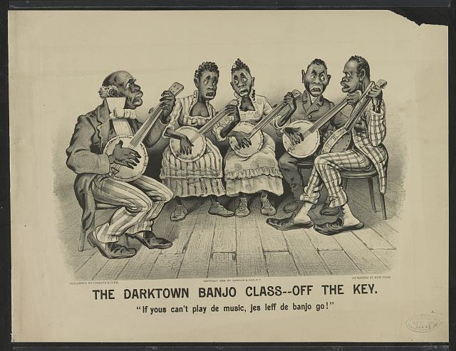 "The darktown banjo class-off the key: ""If yous can't play de music, jes leff de banjo go!"""