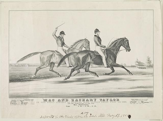 Mac and Zachary Taylor: in the great contest at Hunting Park course Phila. July 18th 1849. for the championship of the turf. Mac, Victorious. time...2:31--3:30--2:35