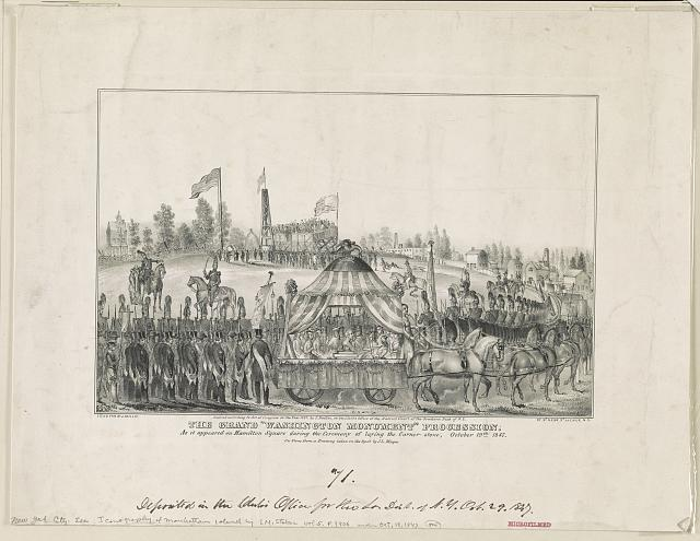 "The grand ""Washington Monument"" procession. As it appeared on Hamilton Square during the ceremony of laying the corner stone, Oct. 19th, 1847"