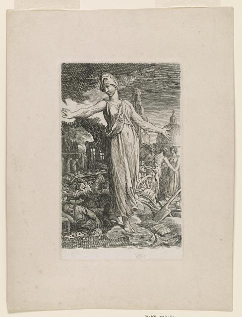 Minerva turning from scenes of violence and destruction to religion and the arts