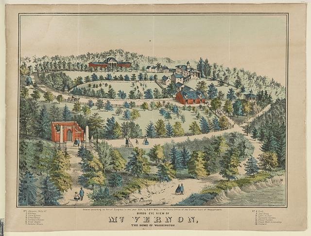 Birds eye view of Mt. Vernon, the home of Washington