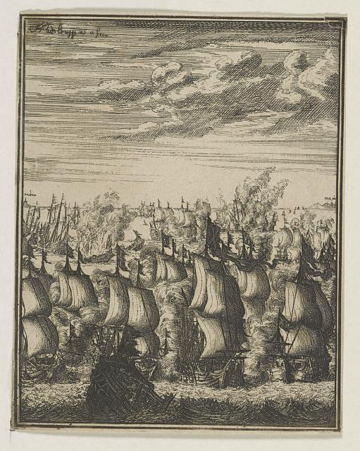 Fleet of sailing ships on the English Chanel between Dover and Calais