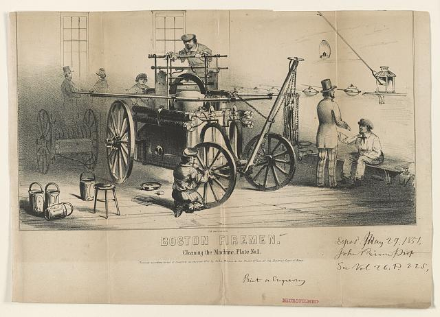 Boston firemen. Cleaning the machine, Plate No. 1