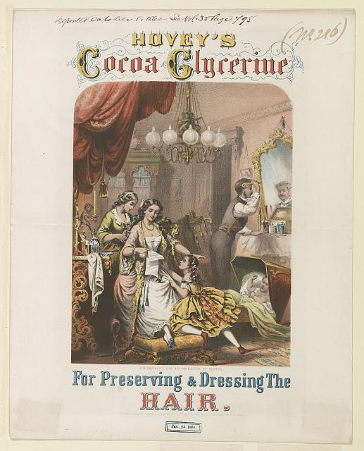 Hovey's Cocoa Glycerine for preserving & dressing the hair