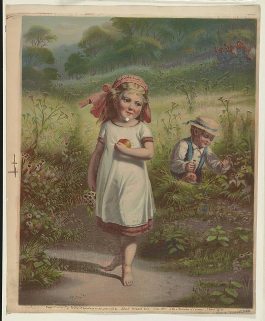 [Little girl and a little boy picking fruits and flowers]