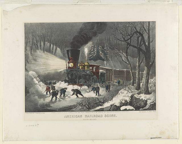 American railroad scene: snowbound