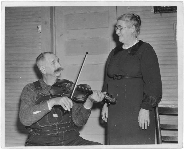 [Davy Crockett Ward of Bog Trotters Band and his wife, Galax, Virginia]