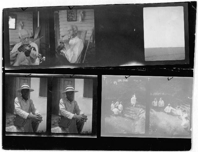 [Two portraits of a Cajun fiddler, Louisiana; Two portraits of a farmer(?); Views of a baptism near Mineola, Texas; One unidentified photo]