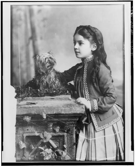 "[Marian Hubbard ""Daisy"" Bell, three-quarter length portrait, at eight years of age, standing, facing left, with dog]"