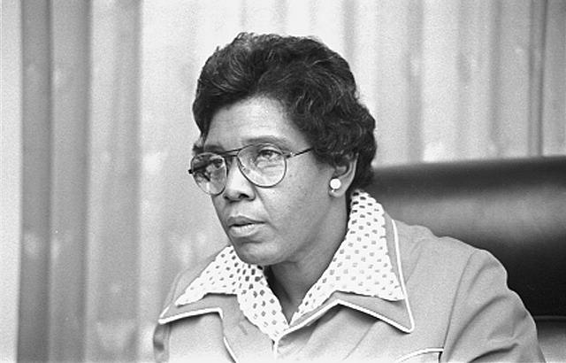 [Congresswoman Barbara Jordan, head-and-shoulders portrait, possibly seated in a Congressional chamber]