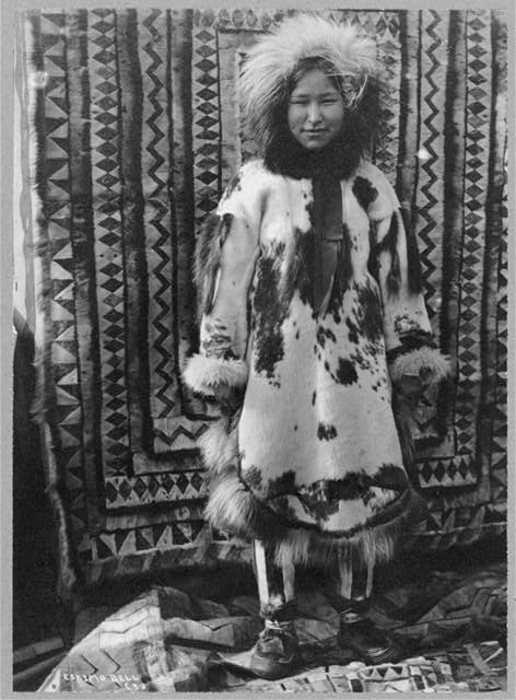 Eskimo girl wearing clothes of all fur