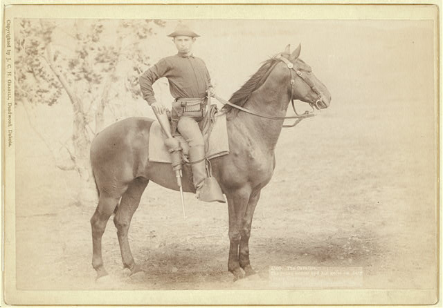 The Cavalier. The young soldier and his horse on duty [a]t camp Cheyenne