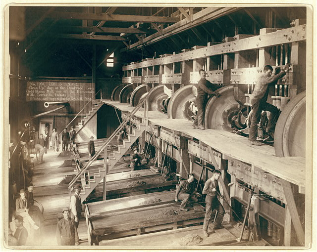 "The Interior. ""Clean Up"" day at the Deadwood Terra Gold Stamp Mill, one of the Homestake Mills, Terraville, Dakota"