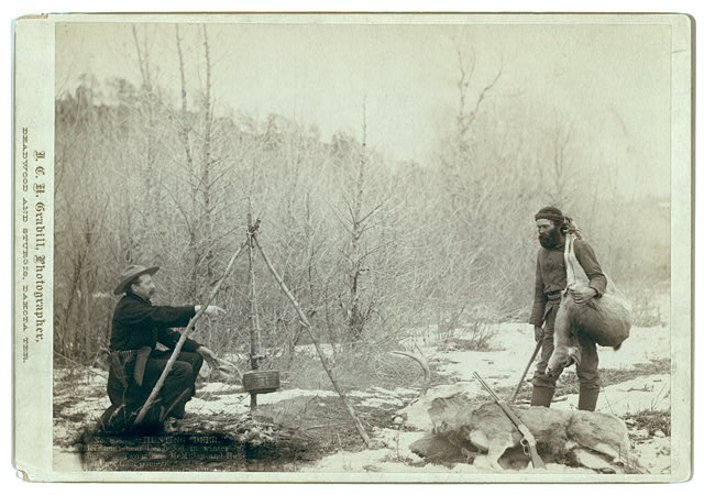 """Hunting Deer."" A deer hunt near Deadwood in winter '87 and '88.  Two miners McMillan and Hubbard got their game"