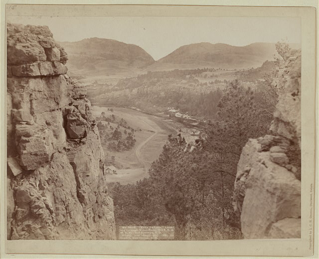 """Echo Canyon."" Looking through Sioux Pass. On F.E. and M.V. Ry., Hot Springs, S.D."