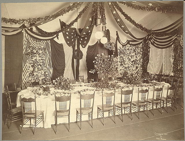 McKinley inaugural supper table in Pension Building, Washington, D.C. [March 4, 1897]