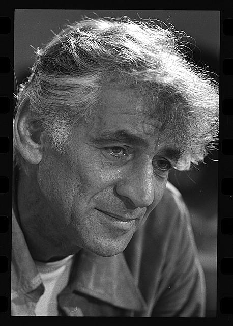 "[Leonard Bernstein in rehearsal of his ""Mass""]"