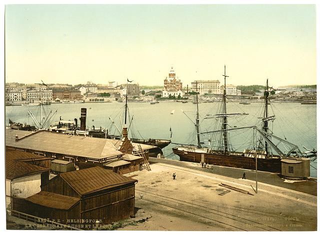 [The Russian cathedral and the harbor, Helsingfors, Russia, i.e., Helsinki, Finland]