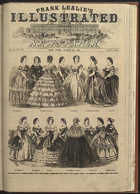 Inauguration ball at Washington, March 4, 1861 - superb costumes of distinguished ladies present on that brillant occassion
