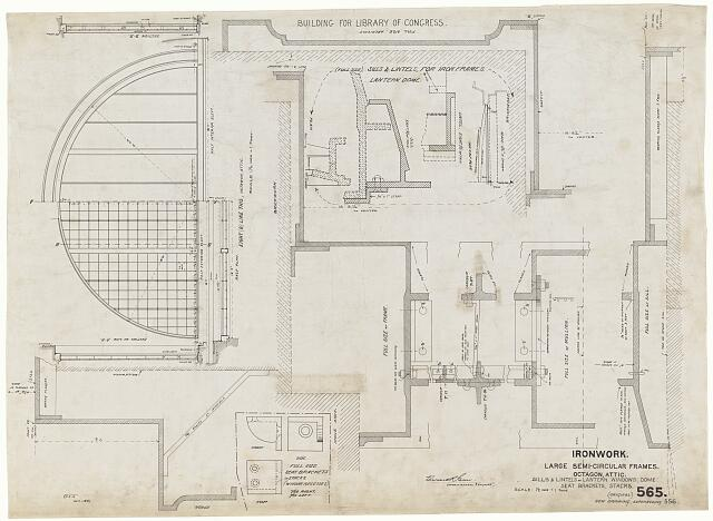 [Library of Congress (Washington, D.C.). Large semi-circular window frames for octagon and attic. Sills and lintels of lantern windows, dome, seat brackets, stacks. Ironwork. Details. Working drawing]